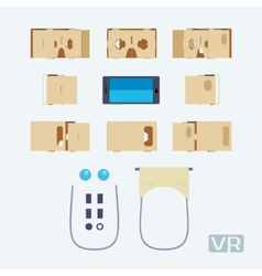 Parts of the cardboard virtual reality headset vector