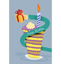 Happy birthday card hand gives gift long arm vector