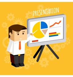 Businessman pointing at presentation board vector