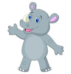 Cute rhino cartoon waving vector