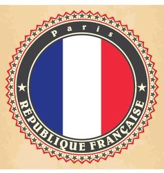 Vintage label cards of france flag vector