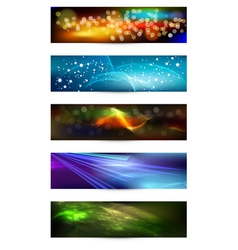 Set of elegant iridescent banners vector
