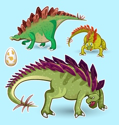 Stegosaurus dinosaurs sticker collection set vector