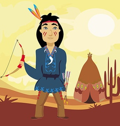 Indian holding a bow and arrows vector