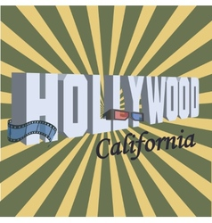 Vintage touristic greeting card - hollywood vector