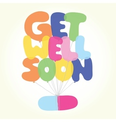Get well soon postcard vector