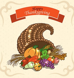 Thanksgiving day greeting card on paper background vector