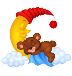 The teddy bear sleep on the moon vector