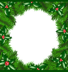 Christmas tree frame with holly berry vector