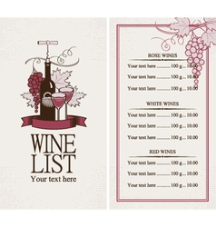 Menu with a bottle of wine vector