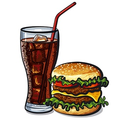 Hamburger and cola vector