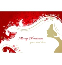 Christmas red background with woman silhouette vector