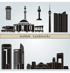 Jeddah landmarks and monuments vector