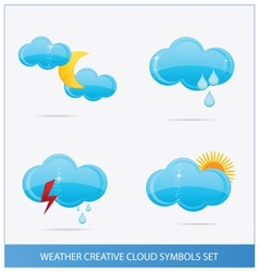 Weather blue clouds symbols set vector