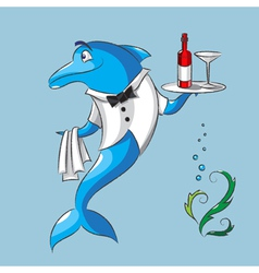 The dolphin is the waiter vector