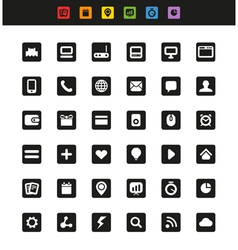 Simple web navigation pictograms collection vector