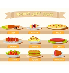Various dishes icons set concept design vector