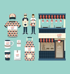 Restaurant cafe set shop front design flyer menu vector