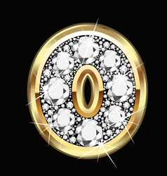 0 number gold and diamond bling vector