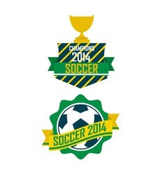 Set of vintage brazil soccer champions ribbons vector