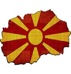 Macedonia map with flag inside vector