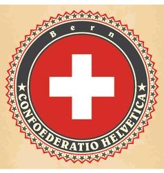Vintage label cards of switzerland flag vector