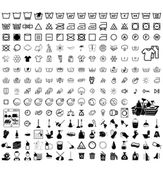 Laundry washer cleaning icons vector