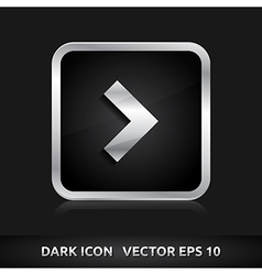 Arrow icon silver metal vector