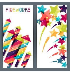 Holiday colorful vertical banners with shiny vector