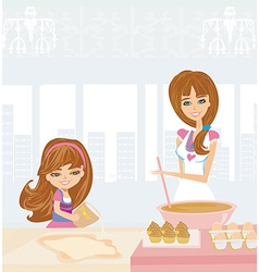 Family baking cakes vector
