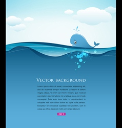 Whale in blue sea background vector