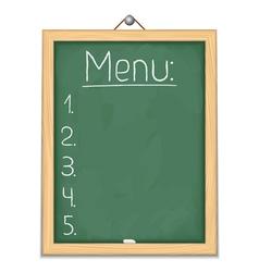 Vertical blackboard with menu vector