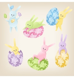 Cute easter bunnies vector