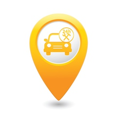 Car with tools icon map pointer yellow vector