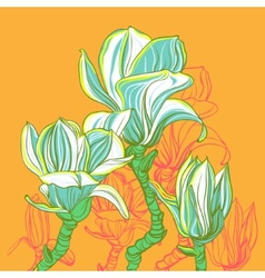 Stylized magnolia vector