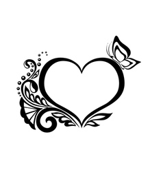 Black-and-white heart with floral design vector