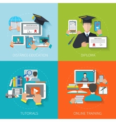 Online education flat vector