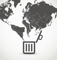 Globe flowing into a garbage basket vector