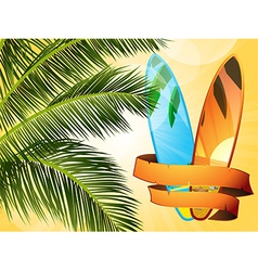 Summer tropical surfboard with banner vector