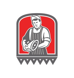 Butcher holding leg of meat retro vector