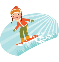 Girl on snowboard vector