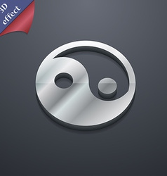 Ying yang icon symbol 3d style trendy modern vector