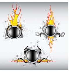Fiery buttons vector