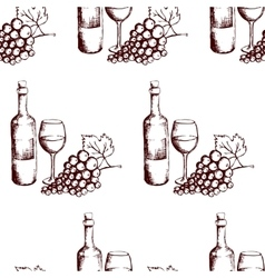 Seamless pattern wine bottle glass and grapes vector