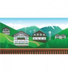 Swiss mountain resort vector