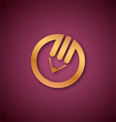 Pencil logo over pink vector