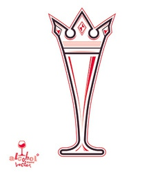 Champagne glass with royal crown decorative goblet vector