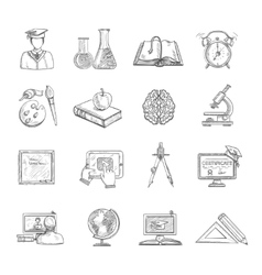 Education icons sketch set vector