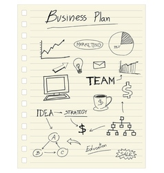 Drawing business plan concept on paper note vector
