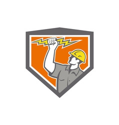 Electrician wield lightning bolt side crest vector
